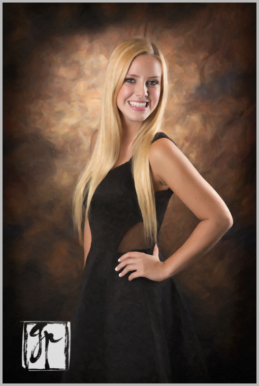 Beautiful Blonde Senior in Black Dress