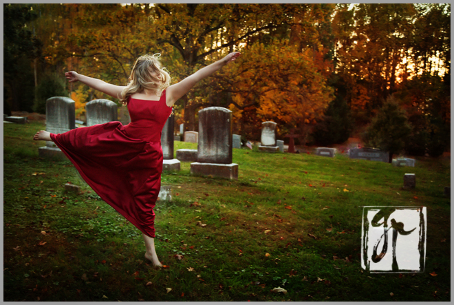 High School Senior Leaping in a Cemetery