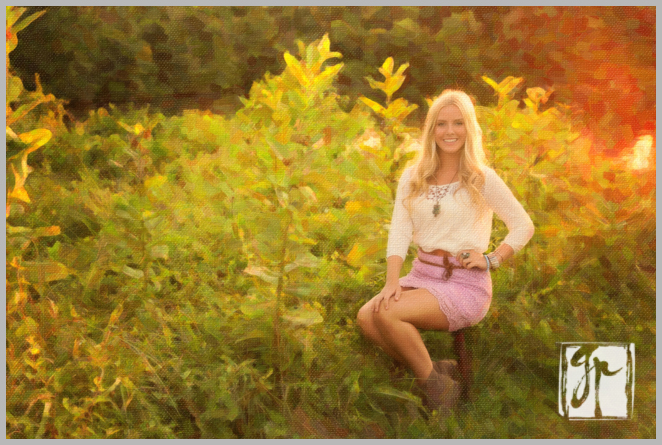 Painted Portrait of lovely blonde high school senior pink skirt brown boots