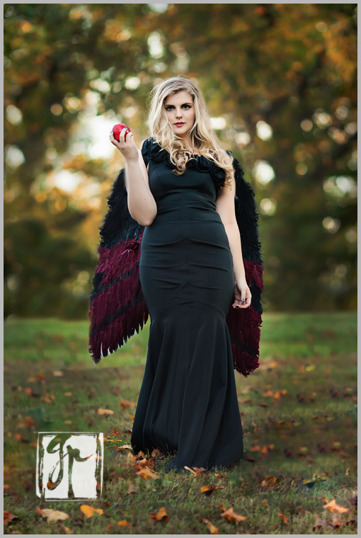 Senior Girl with a Red Apple and Wings