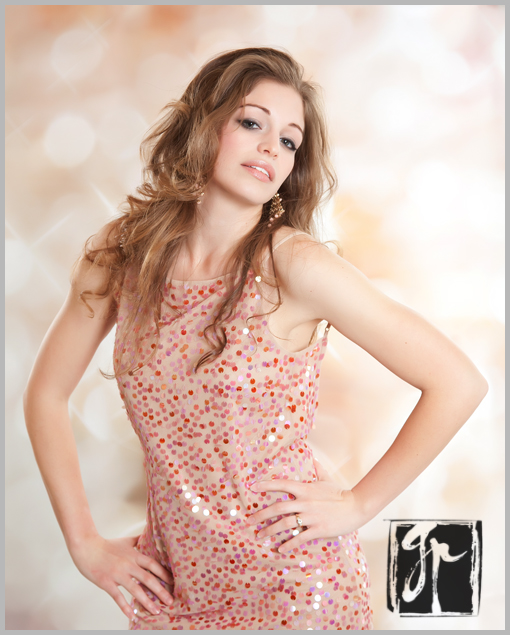 beautiful bombshell in sequinned dress