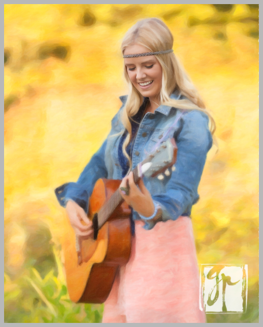 blonde hippi chic senior with guitar painted portrait
