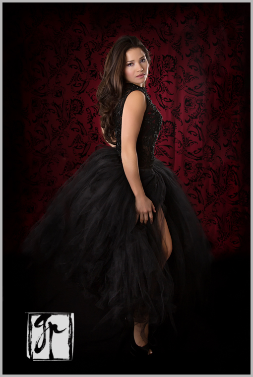 glamour photography brunette wearing black tulle skirt