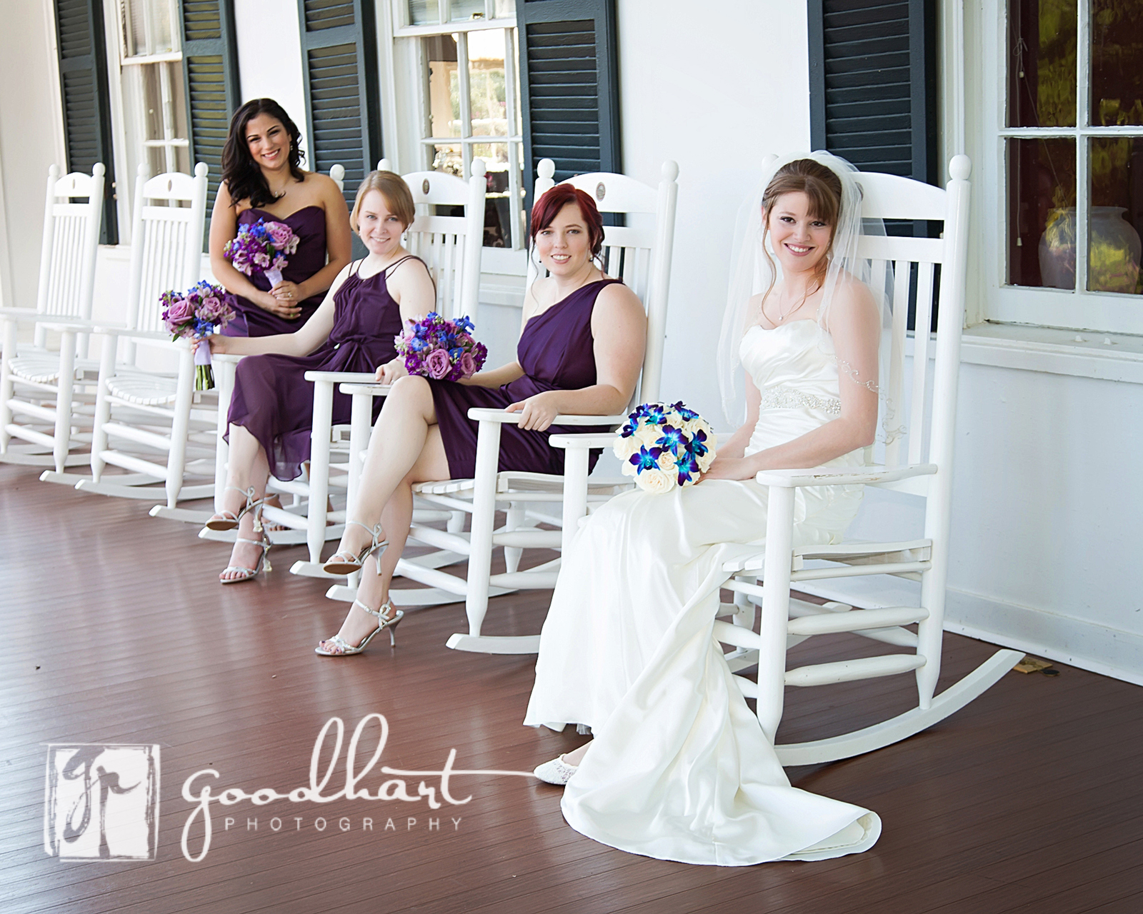 Bride and Bridesmaids on the veranda