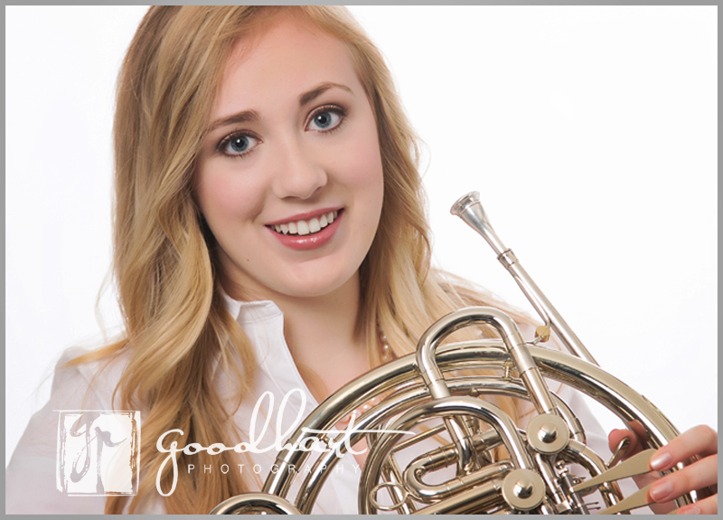 loudoun county senior photographer with french horn