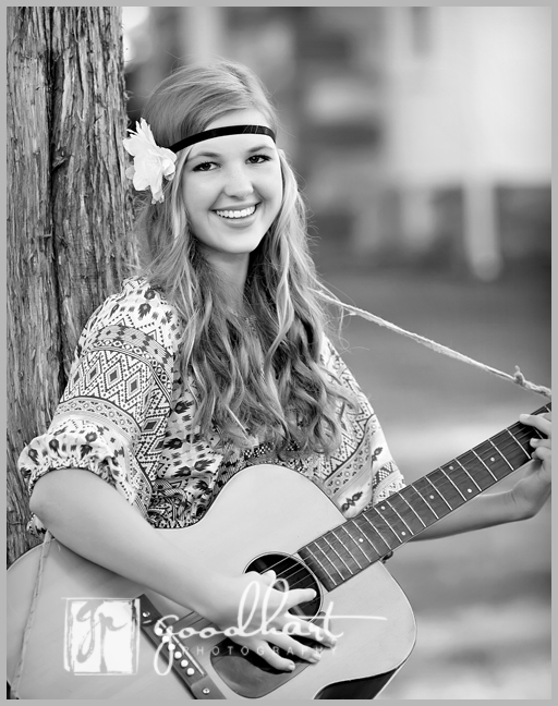 beautiful high school senior with guitar