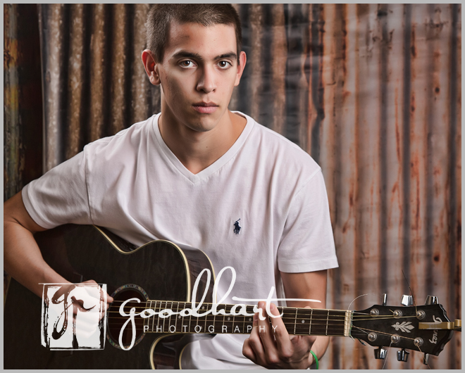 high school senior with guitar