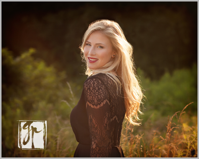 glorious blonde high school senior black dress