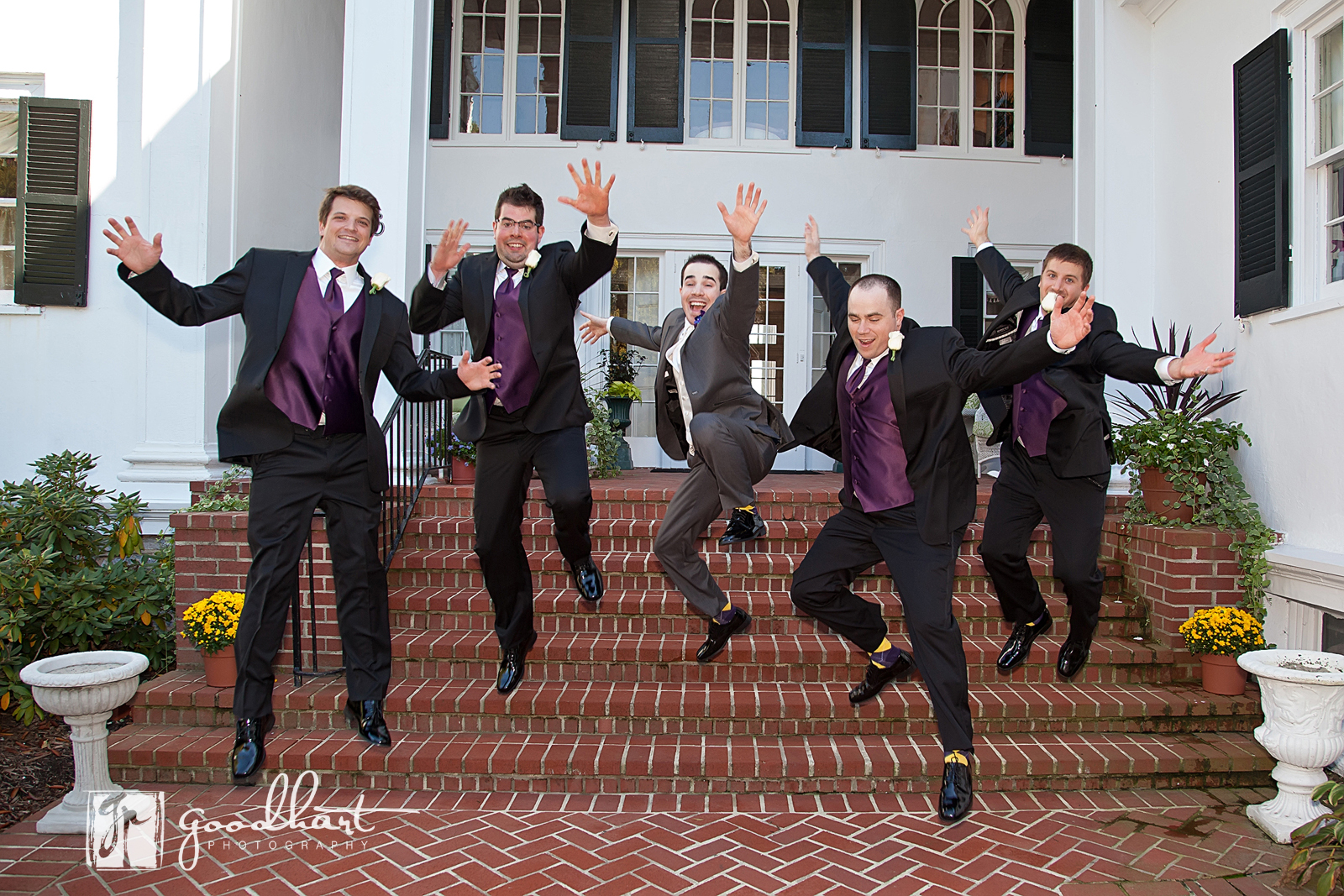Groomsmen getting crazy at Rosemont Manor