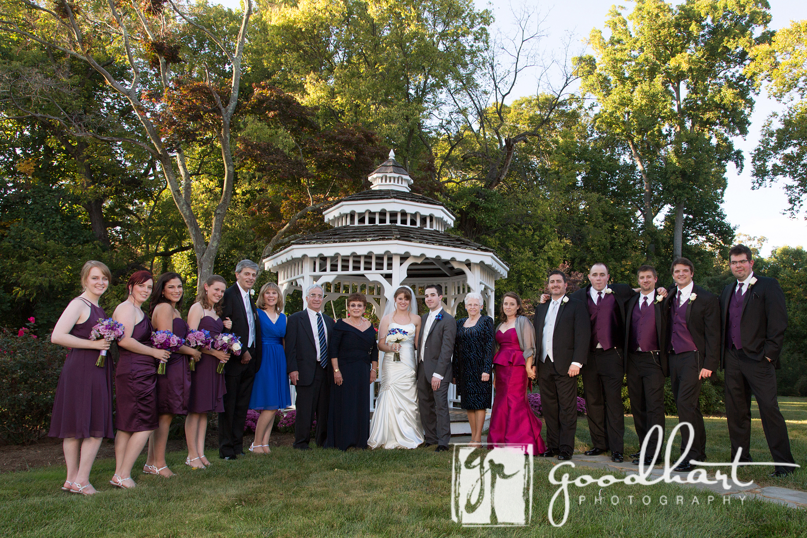 Large formal portrait in front of gazebo at Rosemont Manor