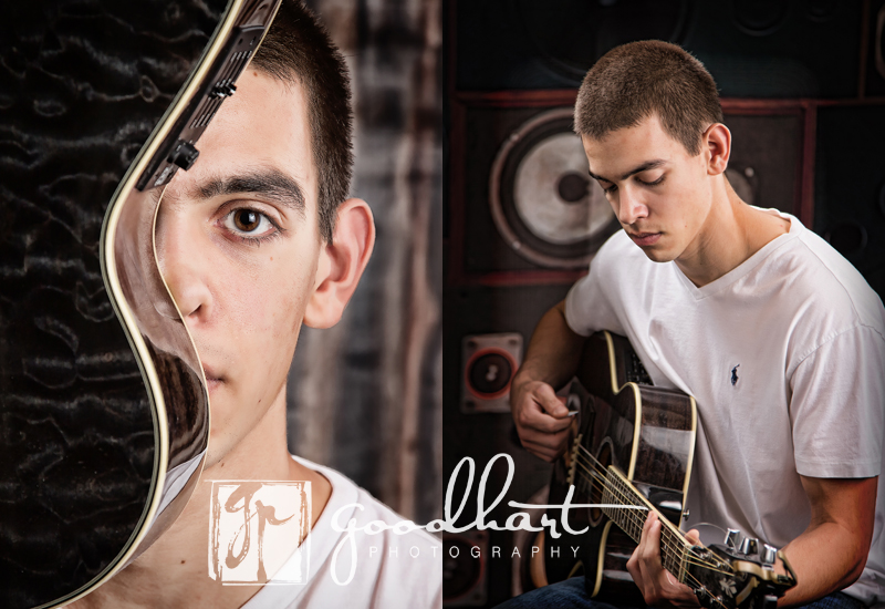 senior with guitar