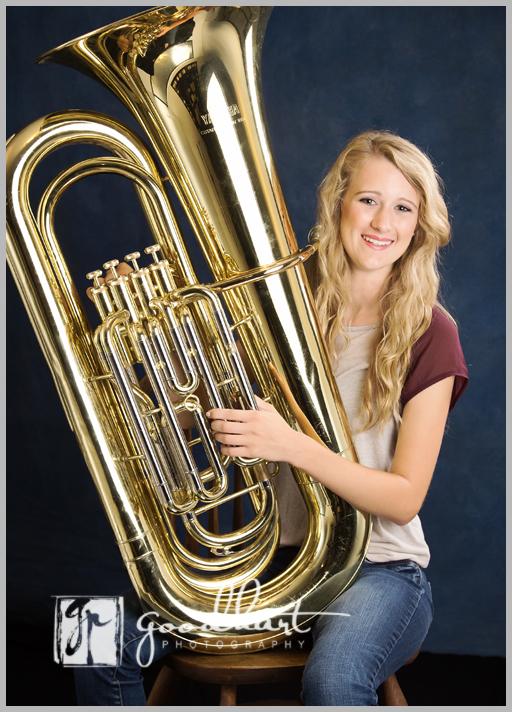 high school senior with tuba