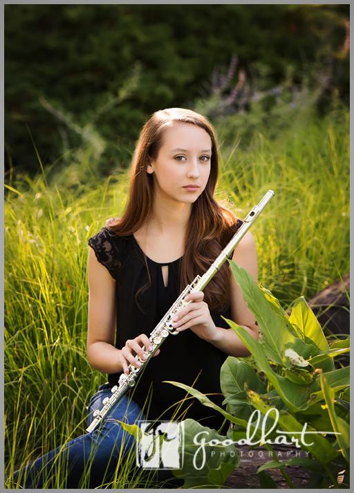 loudoun county high school senior with flute